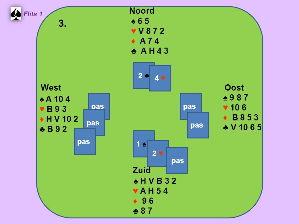 West Noord 3. Zuid ♠ 6 5 ♥ V 8 7 2 ♦ A 7 4 ♣ A H 4 3 ♠ 9 8 7 ♠ A 10 4