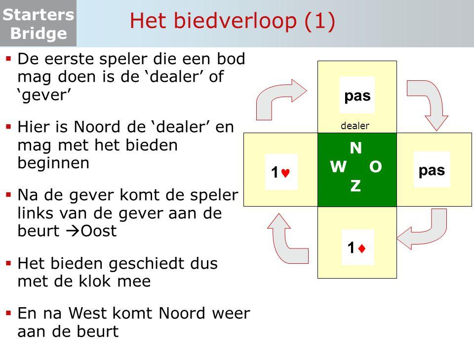Het biedverloop (1) De eerste speler die een bod mag doen is de 'dealer' of 'gever' Hier is Noord de 'dealer' en mag met het bieden beginnen.