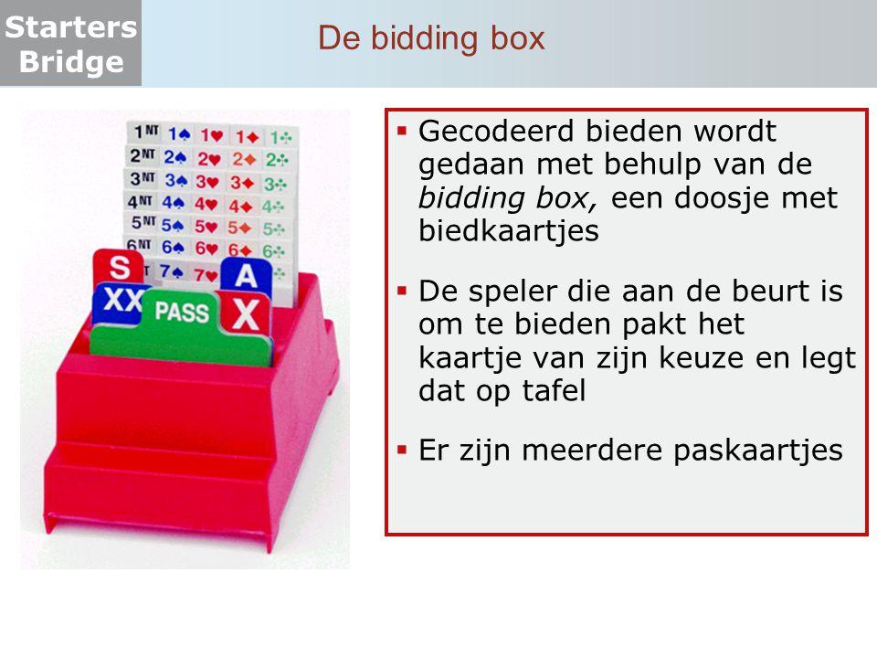 De bidding box Gecodeerd bieden wordt gedaan met behulp van de bidding box, een doosje met biedkaartjes.