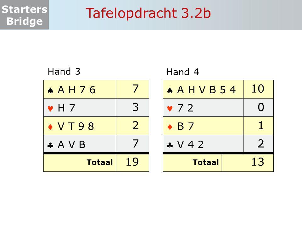 Tafelopdracht 3.2b 7 3 2 19 10 1 2 13  A H 7 6  A H V B 5 4  H 7