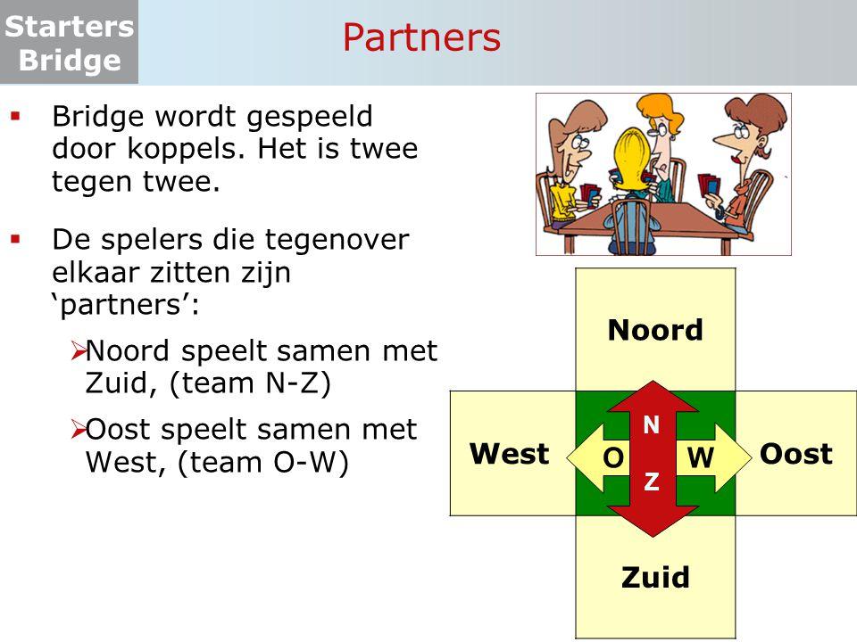 Partners Bridge wordt gespeeld door koppels. Het is twee tegen twee.