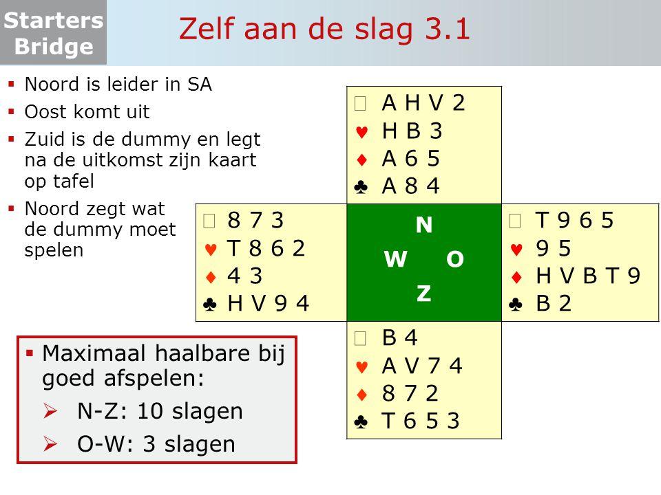 Zelf aan de slag 3.1 ª   ♣ A H V 2 H B 3 A 6 5 A 8 4 8 7 3 T 8 6 2