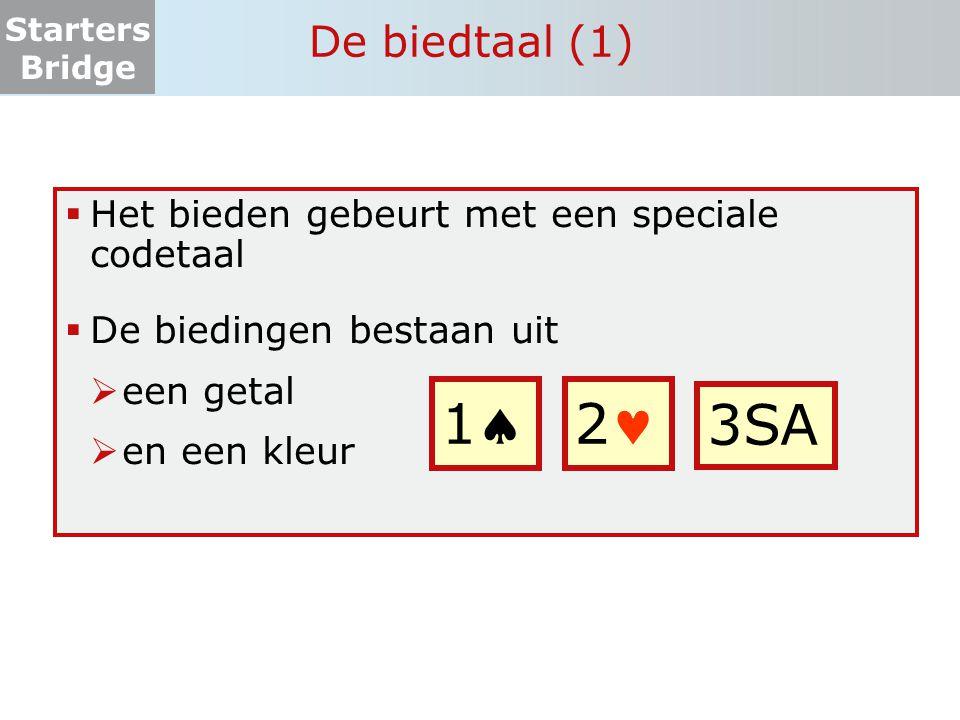 1 2 3SA De biedtaal (1) Het bieden gebeurt met een speciale codetaal