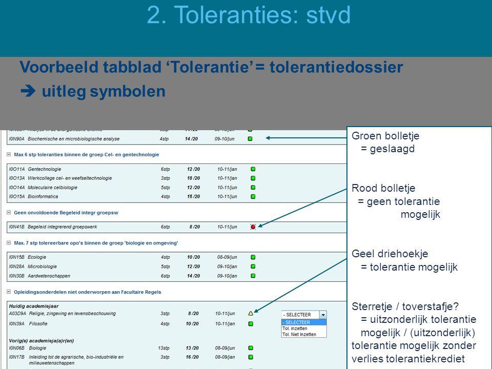 2. Toleranties: stvd Voorbeeld tabblad 'Tolerantie' = tolerantiedossier  uitleg symbolen Groen bolletje = geslaagd.