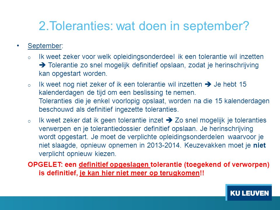 2.Toleranties: wat doen in september