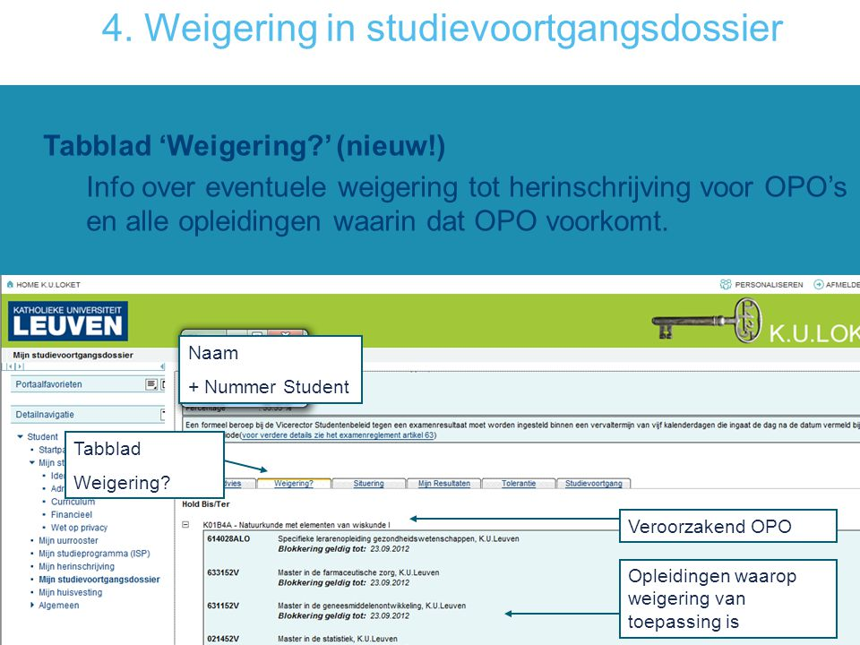 4. Weigering in studievoortgangsdossier