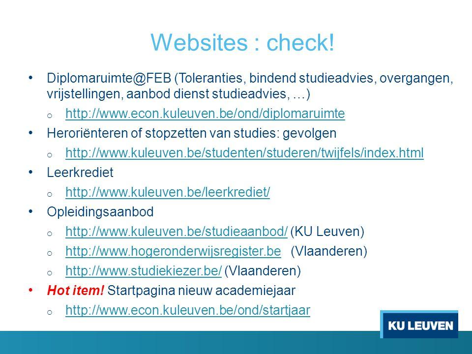 Websites : check! Diplomaruimte@FEB (Toleranties, bindend studieadvies, overgangen, vrijstellingen, aanbod dienst studieadvies, …)