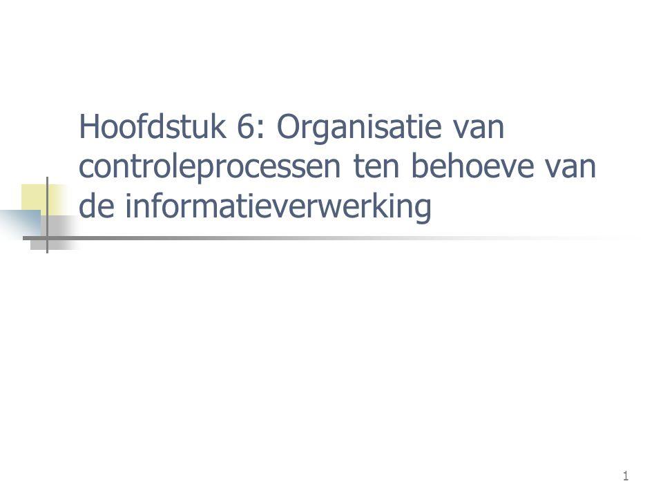 Controleprocessen Hoofdstuk 6: Organisatie van controleprocessen ten behoeve van de informatieverwerking.