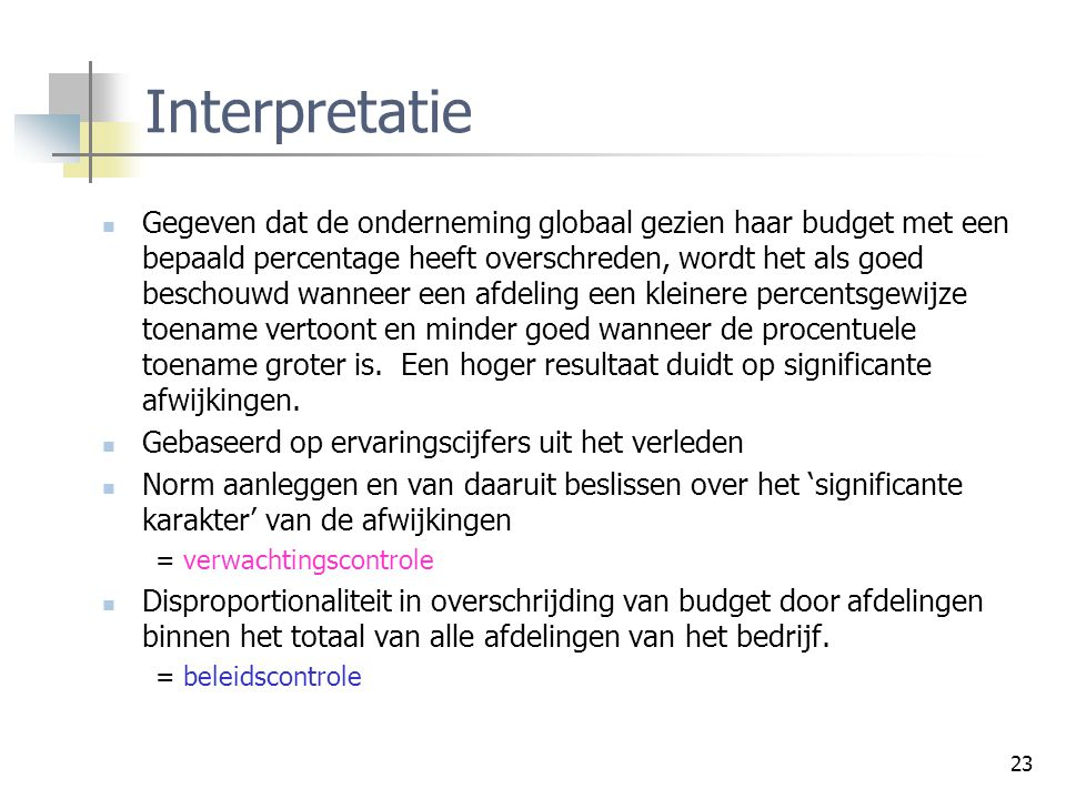 Controleprocessen Interpretatie.