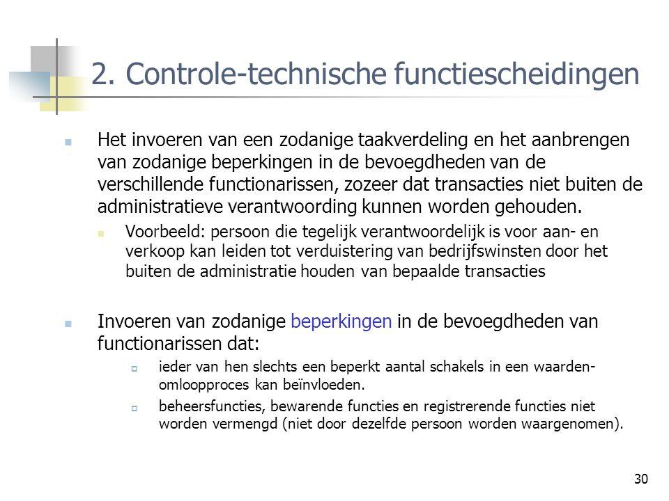 2. Controle-technische functiescheidingen