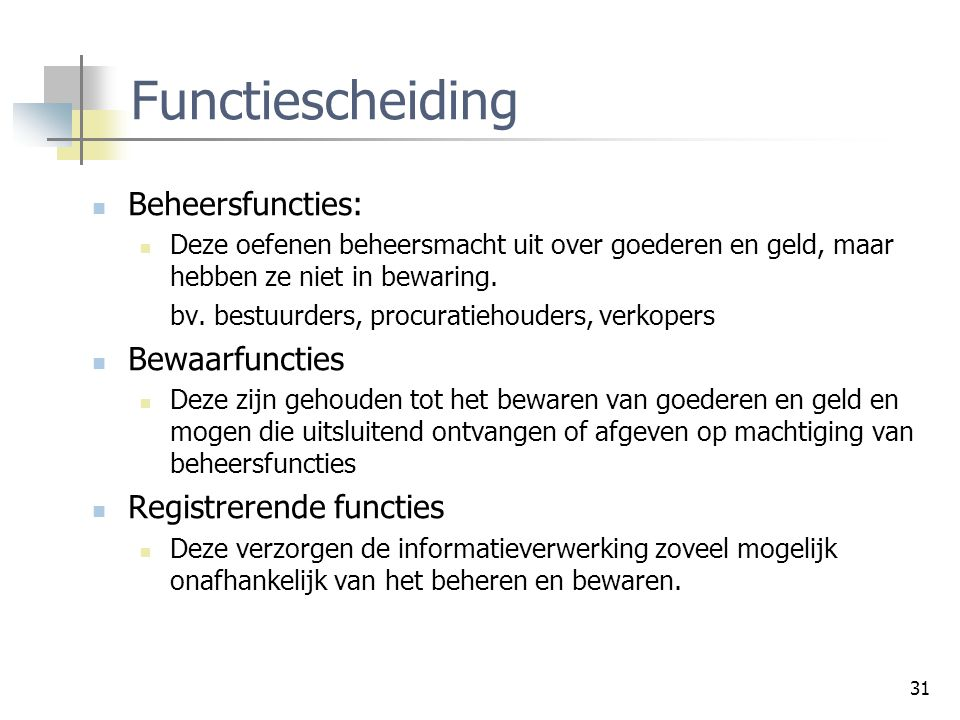Functiescheiding Beheersfuncties: Bewaarfuncties