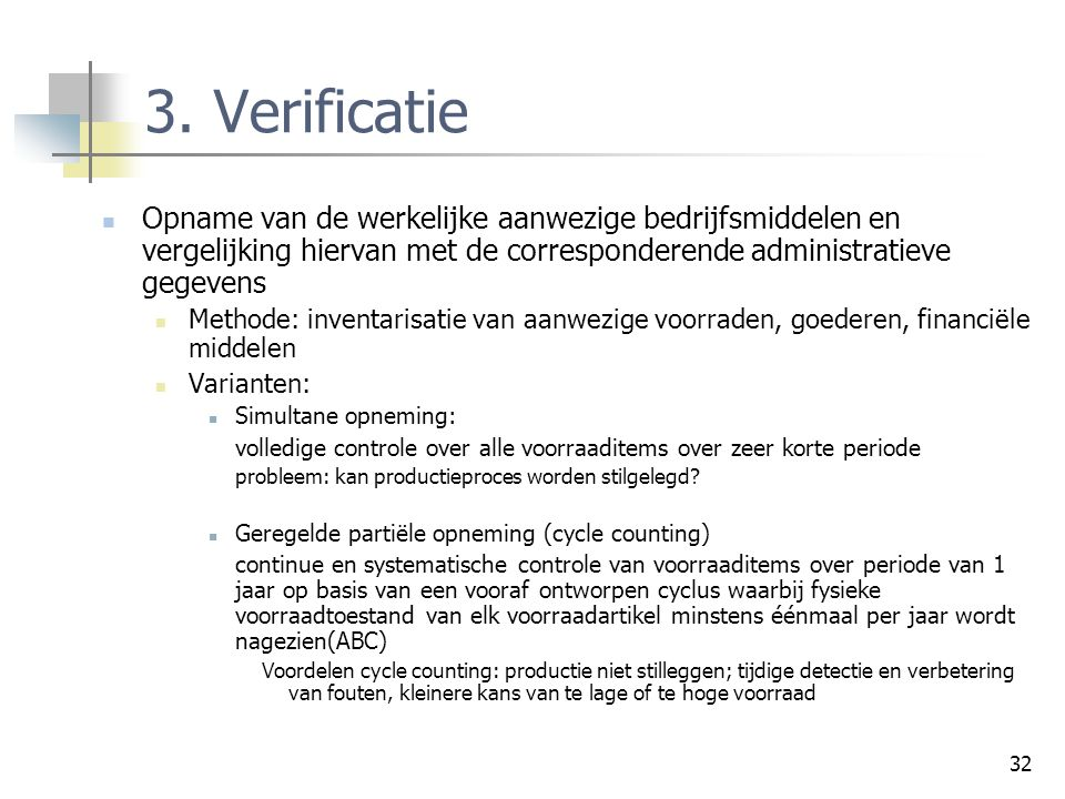 Controleprocessen 3. Verificatie.
