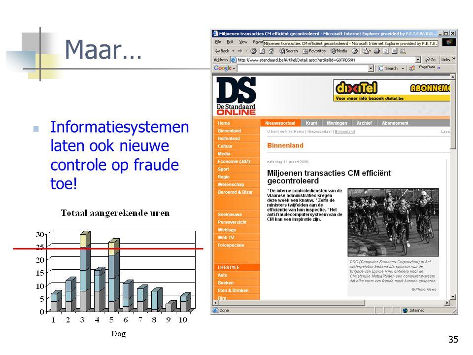 Maar… Informatiesystemen laten ook nieuwe controle op fraude toe!