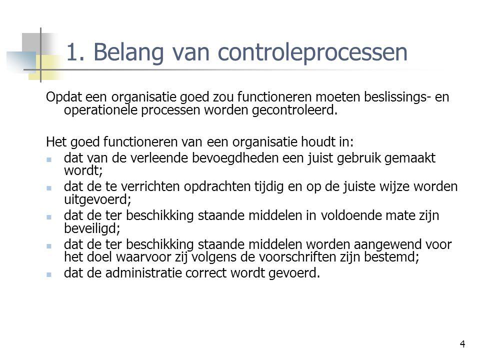 1. Belang van controleprocessen