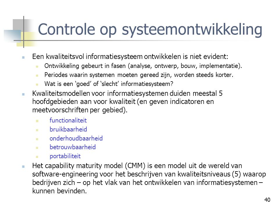 Controle op systeemontwikkeling