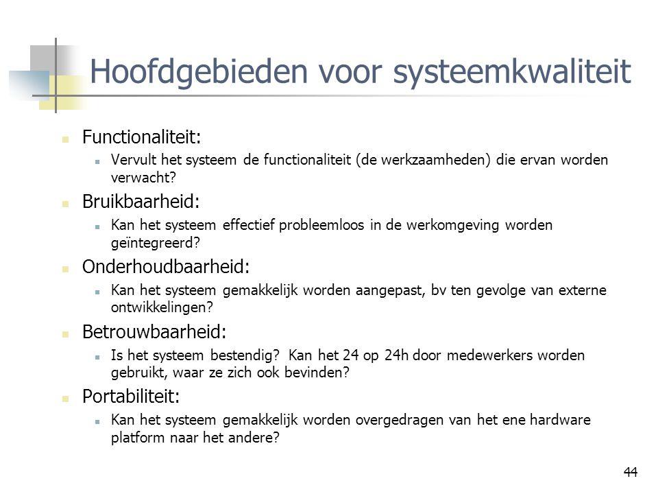 Hoofdgebieden voor systeemkwaliteit
