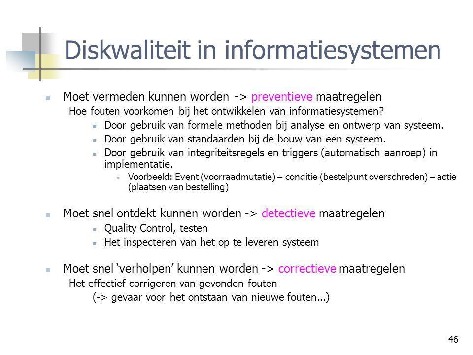 Diskwaliteit in informatiesystemen