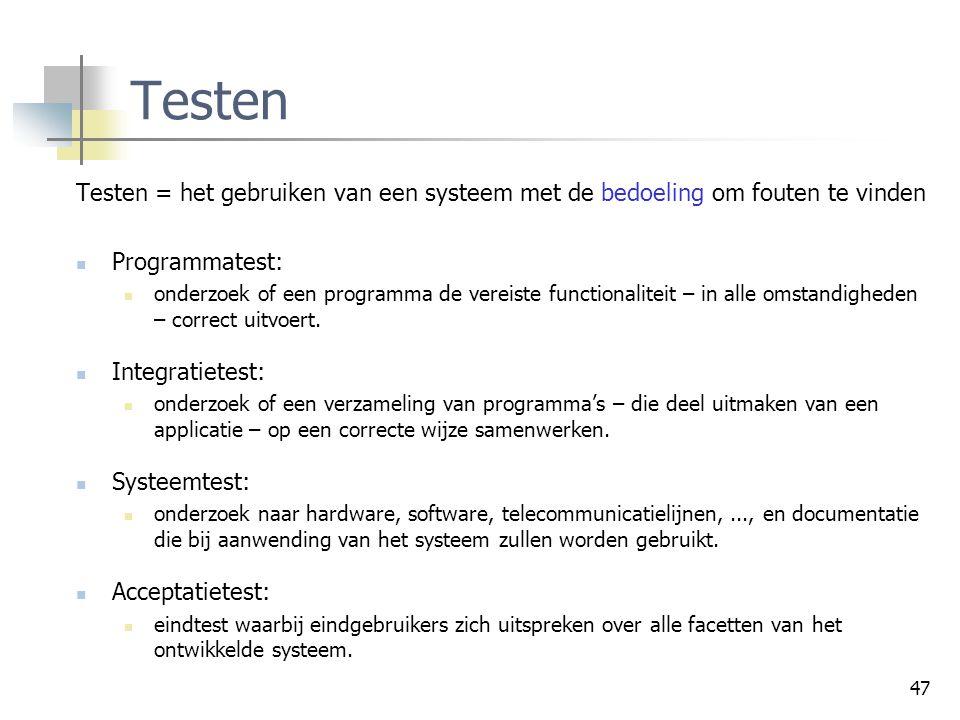 Controleprocessen Testen. Testen = het gebruiken van een systeem met de bedoeling om fouten te vinden.