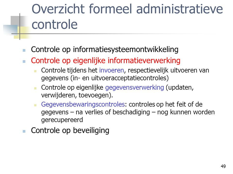 Overzicht formeel administratieve controle