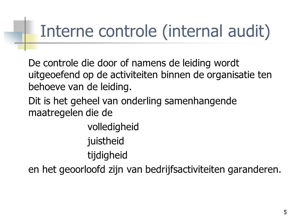 Interne controle (internal audit)
