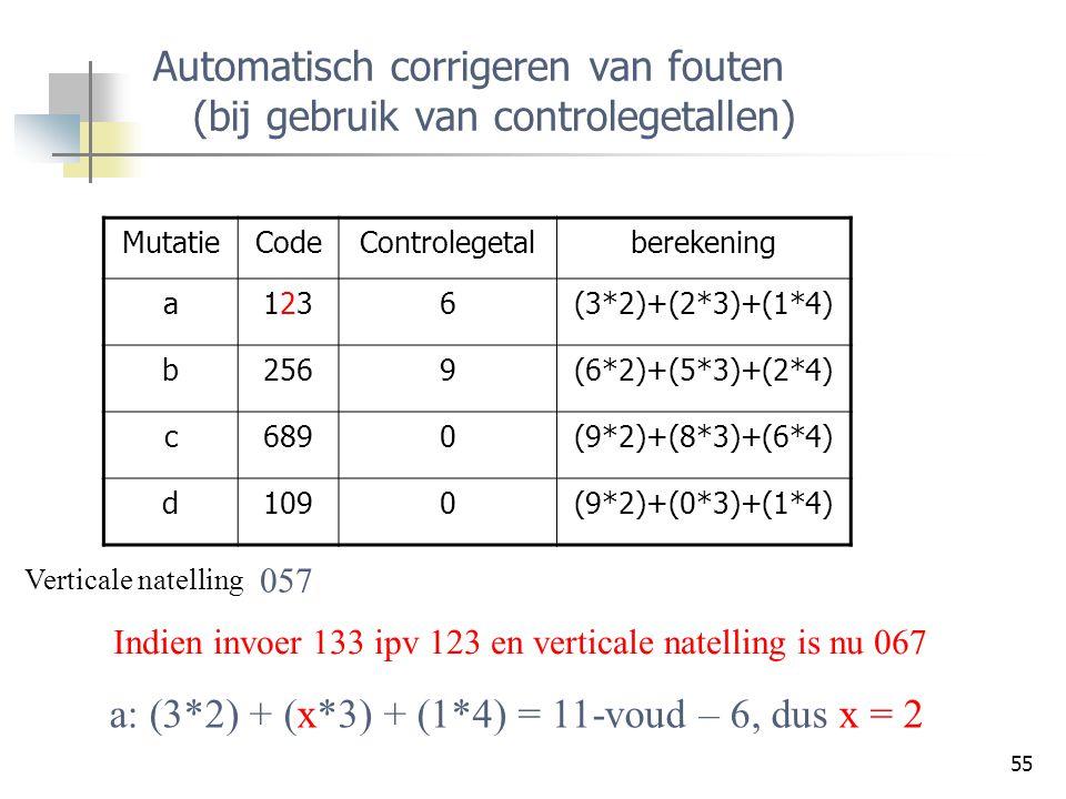 Automatisch corrigeren van fouten (bij gebruik van controlegetallen)