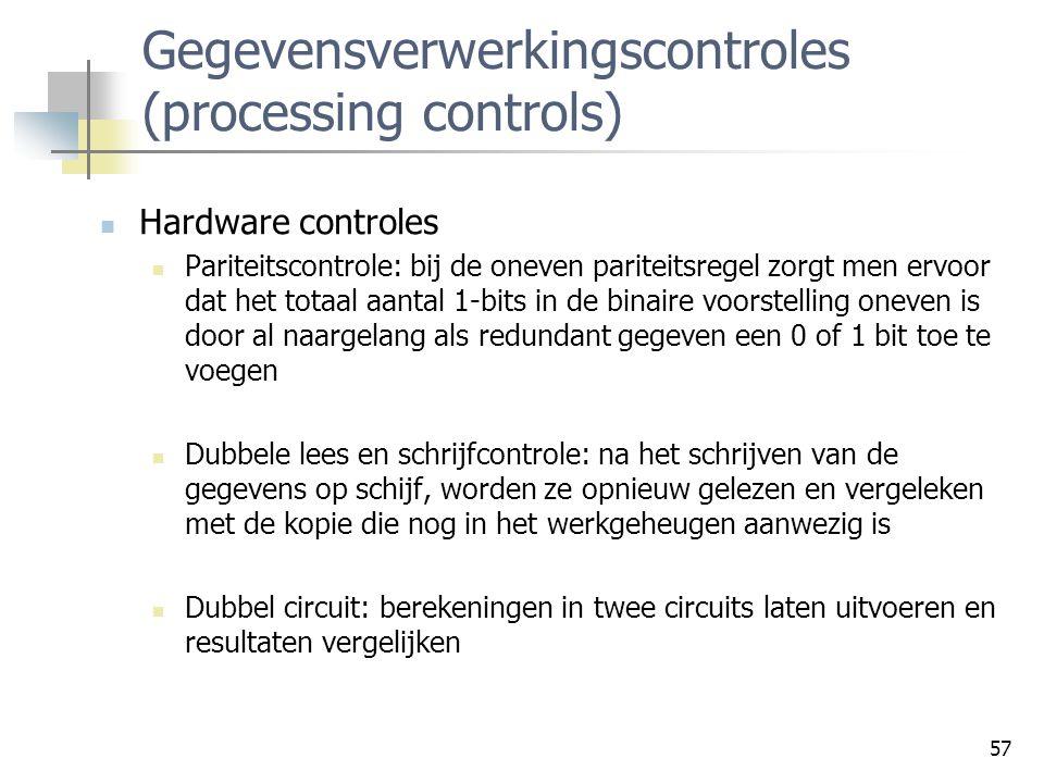 Gegevensverwerkingscontroles (processing controls)