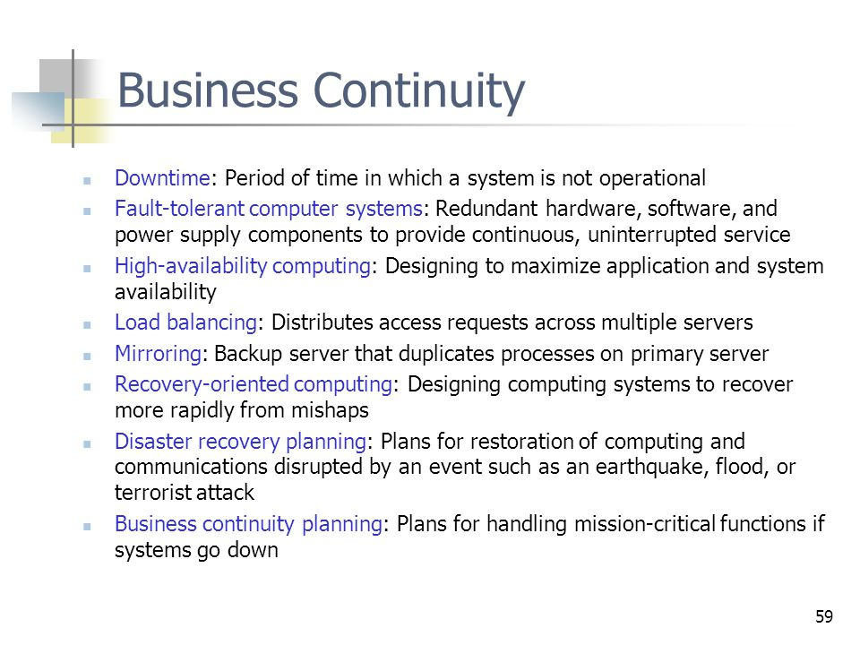 Controleprocessen Business Continuity. Downtime: Period of time in which a system is not operational.