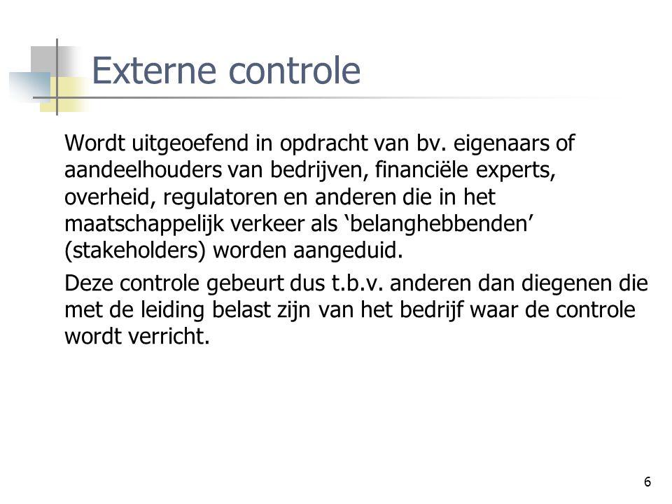 Controleprocessen Externe controle.