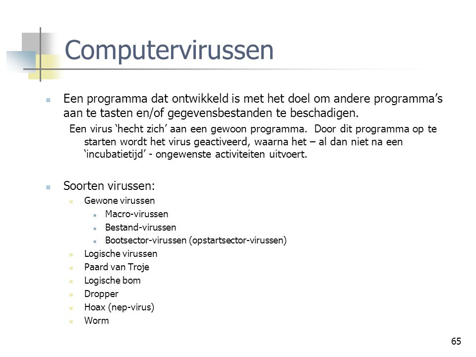 Controleprocessen Computervirussen.