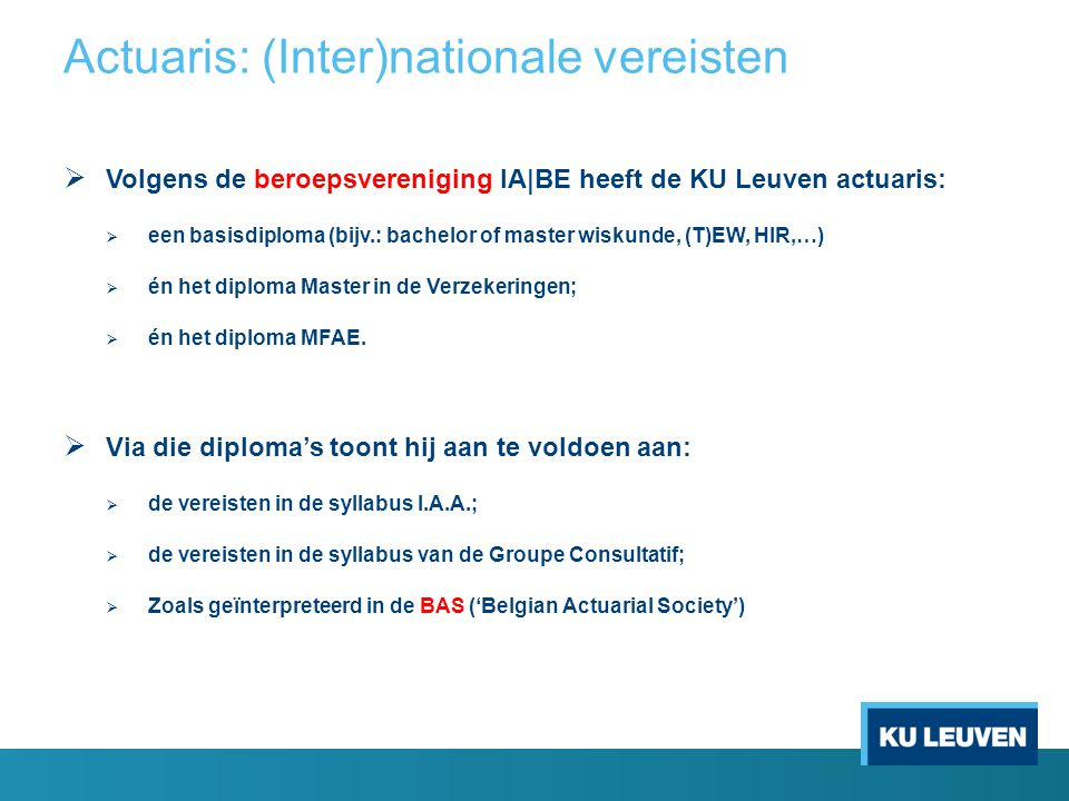 Actuaris: (Inter)nationale vereisten