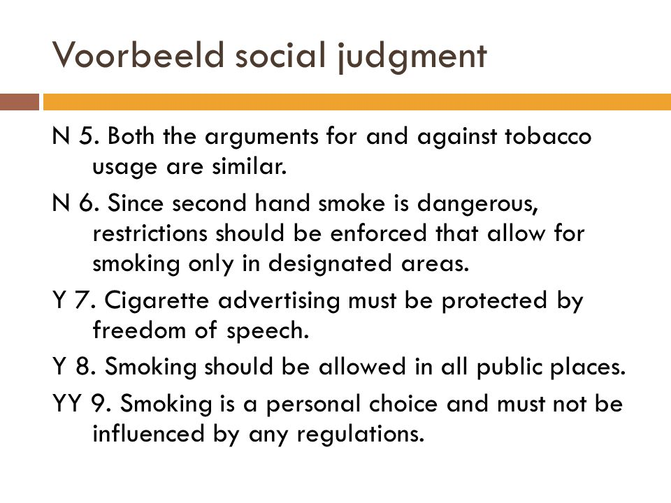 Voorbeeld social judgment