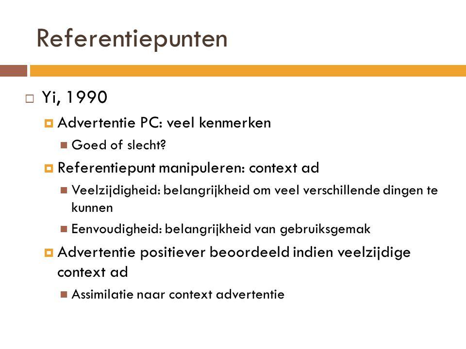 Referentiepunten Yi, 1990 Advertentie PC: veel kenmerken