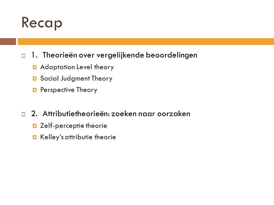 Recap 1. Theorieën over vergelijkende beoordelingen