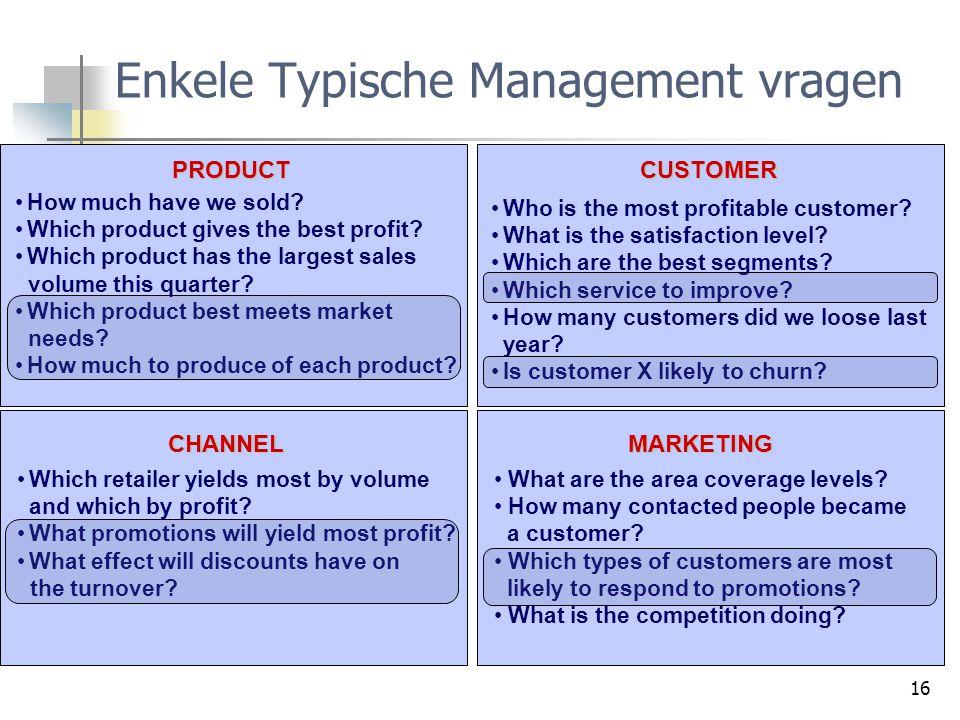 Enkele Typische Management vragen