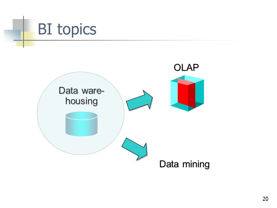 BI topics OLAP Data ware- housing Data mining