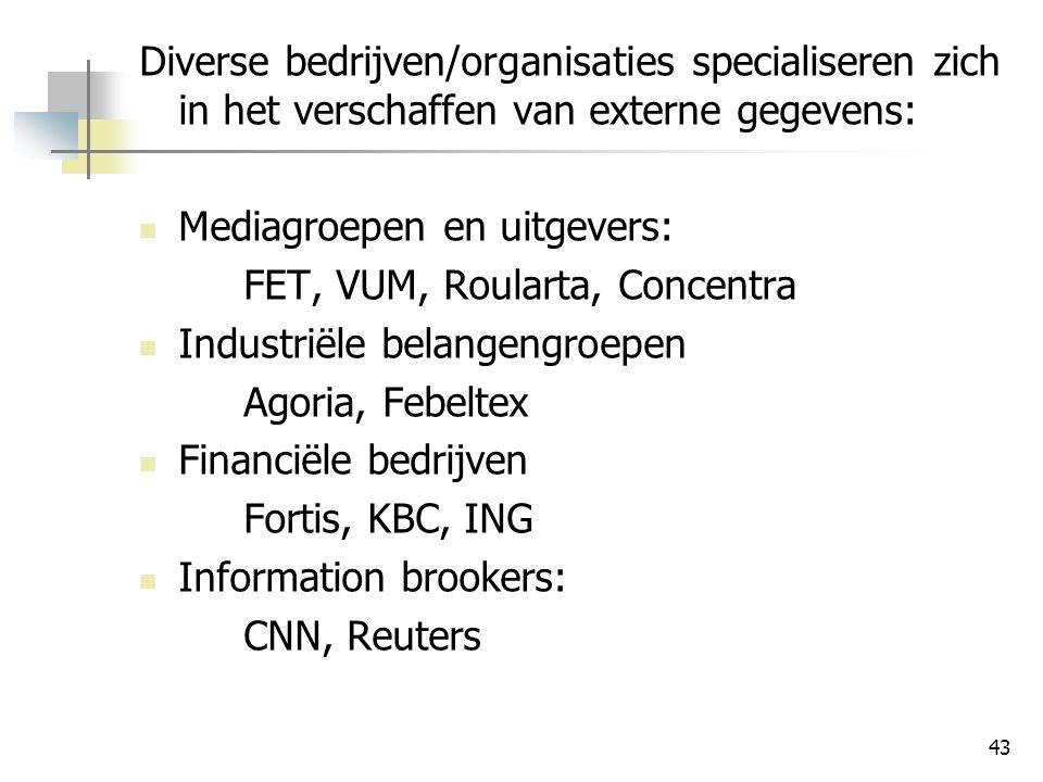 Diverse bedrijven/organisaties specialiseren zich in het verschaffen van externe gegevens: