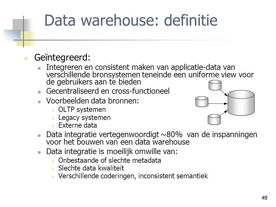 Data warehouse: definitie