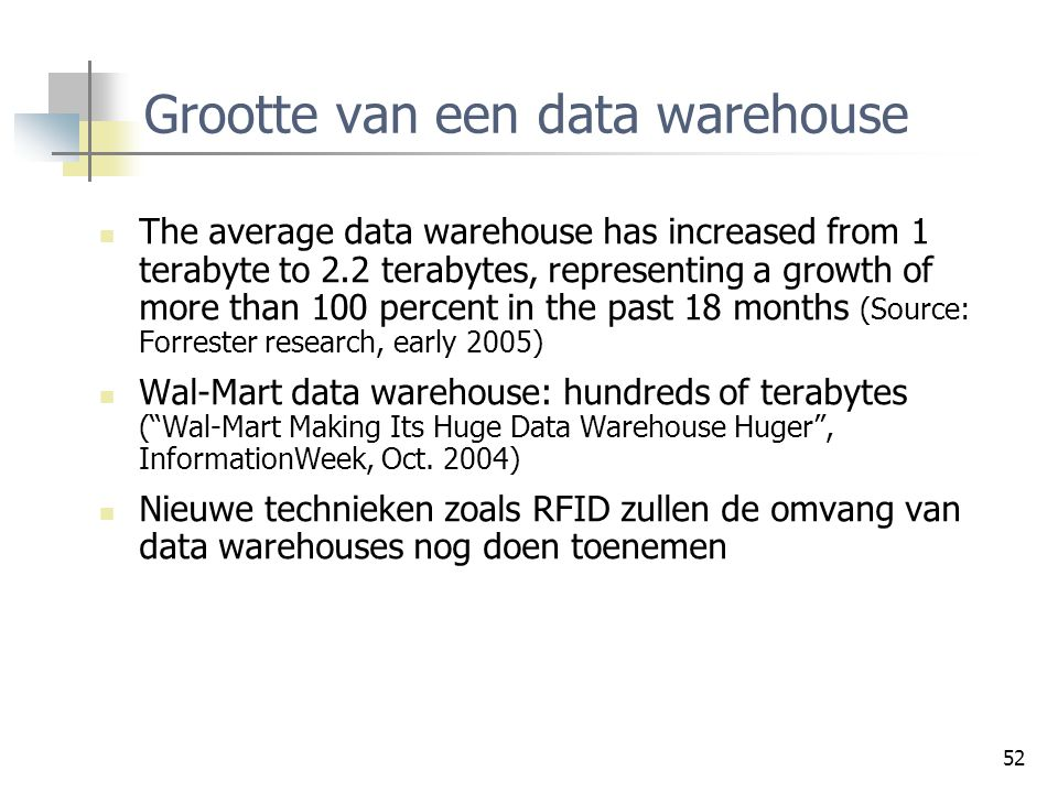 Grootte van een data warehouse