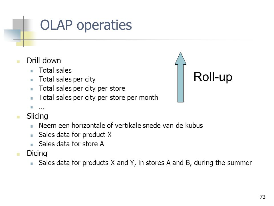 OLAP operaties Roll-up Drill down Slicing Dicing Total sales