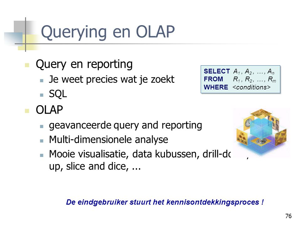 Querying en OLAP Query en reporting OLAP Je weet precies wat je zoekt