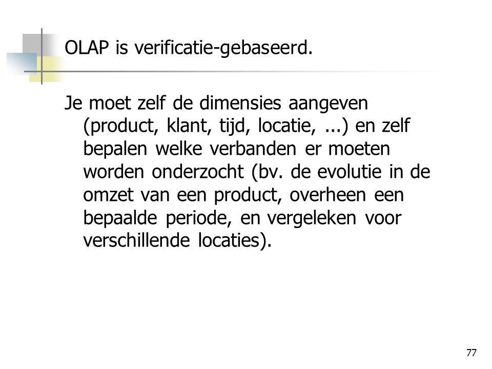 OLAP is verificatie-gebaseerd.