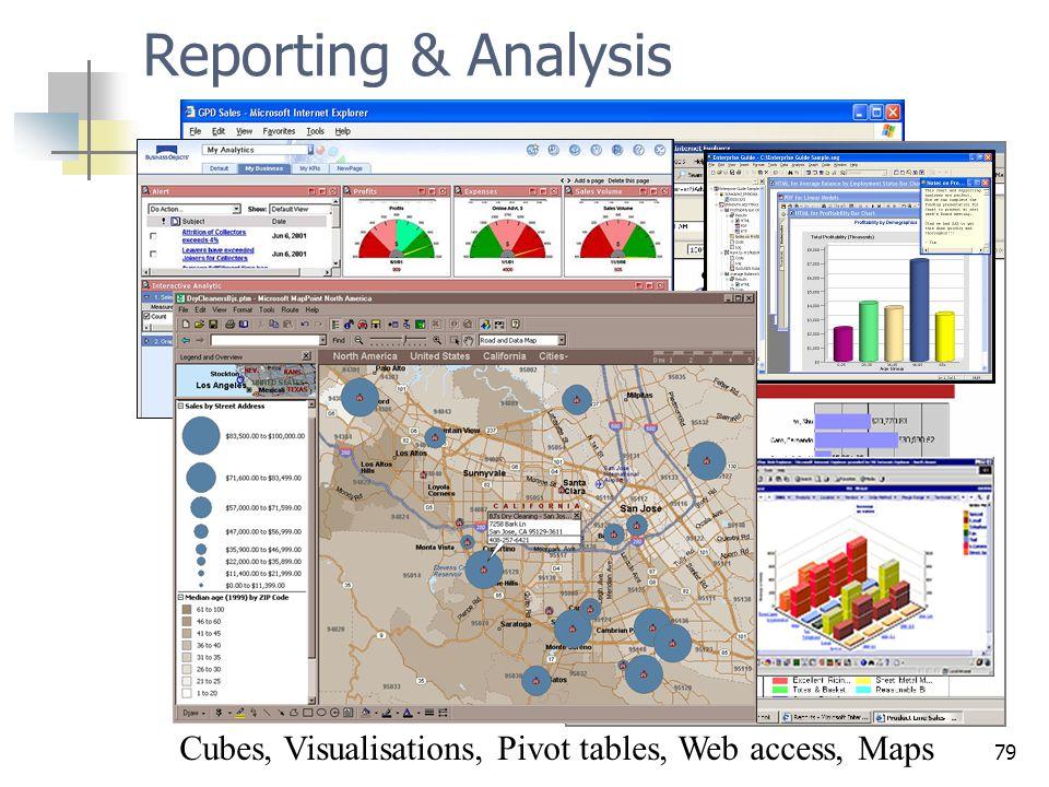 Cubes, Visualisations, Pivot tables, Web access, Maps