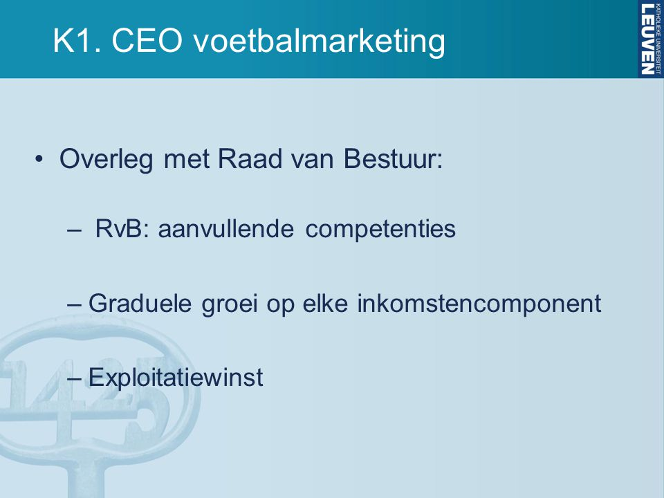K1. CEO voetbalmarketing
