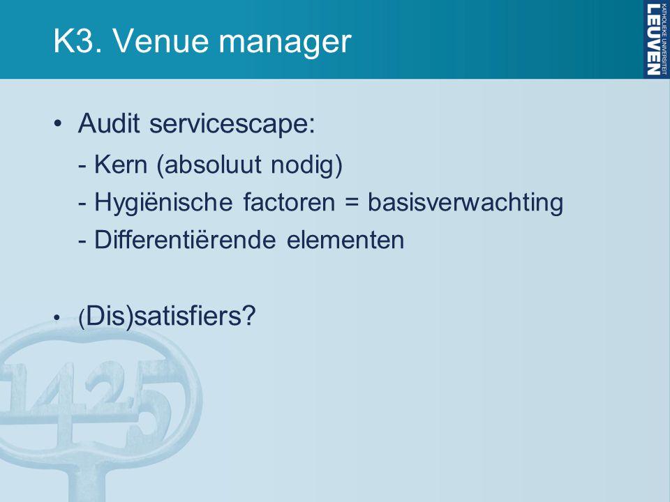 K3. Venue manager Audit servicescape: - Kern (absoluut nodig)
