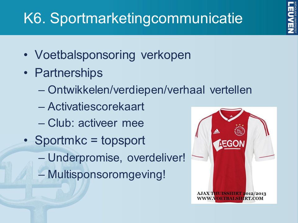 K6. Sportmarketingcommunicatie