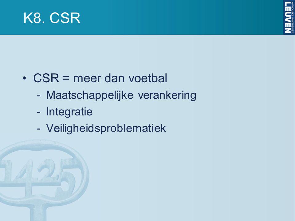 K8. CSR CSR = meer dan voetbal Maatschappelijke verankering Integratie