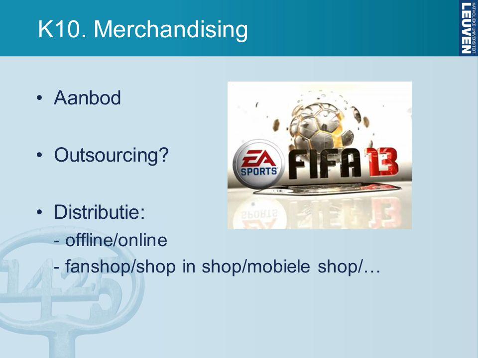 K10. Merchandising Aanbod Outsourcing Distributie: - offline/online