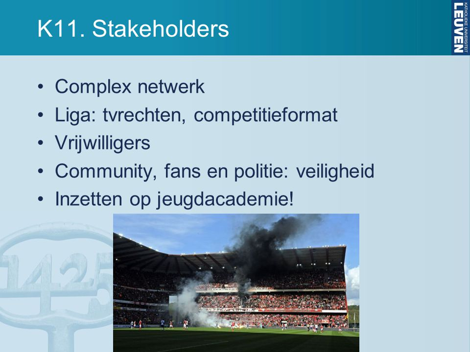 K11. Stakeholders Complex netwerk Liga: tvrechten, competitieformat