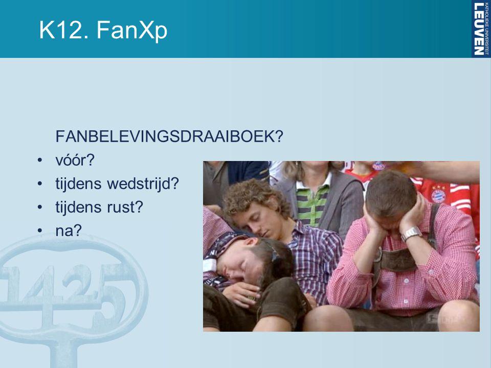 K12. FanXp FANBELEVINGSDRAAIBOEK vóór tijdens wedstrijd