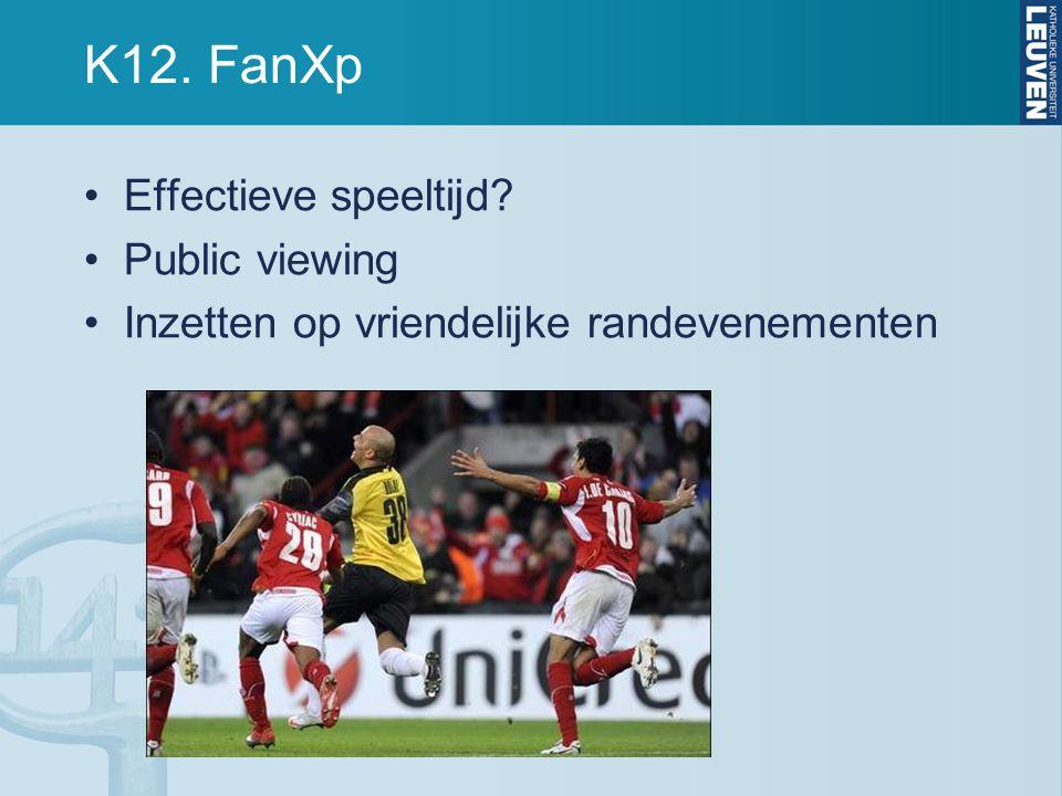 K12. FanXp Effectieve speeltijd Public viewing